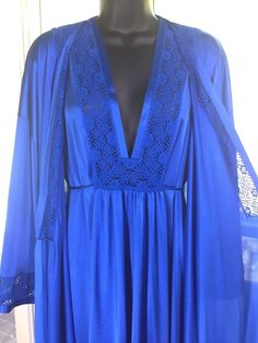 618c682d47 Vintage Vanity Fair Nightgown + Robe Set. Size 36 in Sapphire Blue. Full  Length