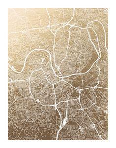 Nashville Map Foil-Stamped Wall Art by Alex Elko Design | Minted