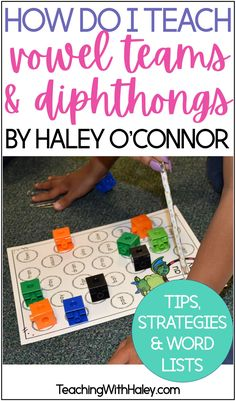 Strategies for teaching vowel teams and diphthongs in our classroom by Teaching with Haley. In this post, I go through in detail different ways our students can practice words in authentic and engaging ways. I have included a free download of a word list you can use in your vowel teams unit. Great vowel worksheets for kindergarten, first grade, and second grade. Includes the vowel teams and diphtongs ai, ay, ee, ea, ey, ie, ou, ow, oo, oy, ue and ui. Learn more