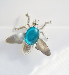 Vintage Silver Tone Jelly Belly Fly Insect Bug Brooch Pin with Oval Blue Cabochon