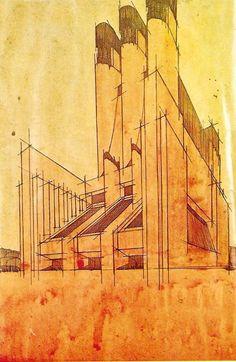 Antonio Sant'Elia (1888- 1916), architetto futurista. Edificio della Città Nuova.