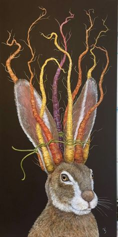 The Crown of Carrots (by Vicki Sawyer) Art And Illustration, Illustrations, Lapin Art, Deco Champetre, Drawn Art, Rabbit Art, Bunny Art, Whimsical Art, Animal Paintings