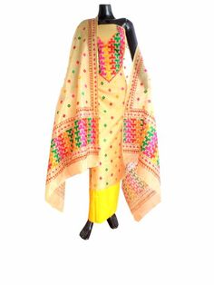 Hand Work Phulkari Salwar Suit on Chanderi Silk- Beige&Yellow:This absolutely stunning chanderi silk phulkari suit piece is hand embroidered