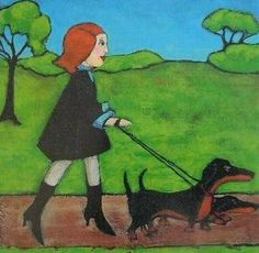 TAKING THE DOGS FOR A WALK ABOUT by LittleEllensArt on Etsy | Original signed digital print on quality card stock in fade resistant quality inks. Another Dachshund inspired print from an ORIGINAL painting by Southwestern Ontario artist Ellen Haasen. She has works in a variety of media, as well as canvas and prints in a number of Ontario collections and beyond.