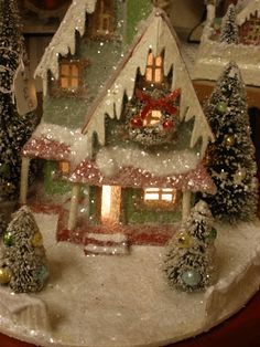 Vintage paper Christmas house