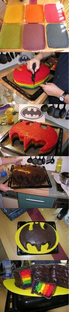 diy, diy projects, diy craft, handmade, diy ideas, diy batman rainbow cake