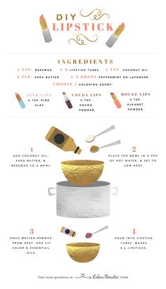 Essential Oil Alternatives: Natural Lipstick DIY Luckily, there's a natural alternative for all of you lipstick lovers out there. So natural, it's practically edible (though we would never recommend that)! Homemade Lipstick, Diy Lipstick, Natural Lipstick, Homemade Cosmetics, Natural Makeup, Homemade Lip Balm, Red Lipsticks, Beauty Care, Diy Beauty