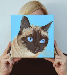 Cat Custom Painting 8 x 8 by PopArtPetPortraits on Etsy, $100.00