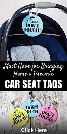 """Keep germs and strangers away with these """"Please Don't Touch"""" car seat tags! Great for preemies and other immunocompromised babies. #preemies #preemieparents #nicu #prematurebaby #babyshowergift #babygift #heartwarrior #chdwarrior #preemiequotes #nicubabyquotes #carseattag #pleasedonttouch"""