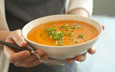 Carrot-Ginger Soup (vegetable broth, onion, garlic, ginger, carrots, potato, lemon, chives)