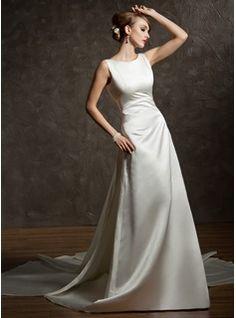 Wedding Dresses - $187.99 - A-Line/Princess Scoop Neck Watteau Train Satin Wedding Dress With Ruffle  http://www.dressfirst.com/A-Line-Princess-Scoop-Neck-Watteau-Train-Satin-Wedding-Dress-With-Ruffle-002012755-g12755