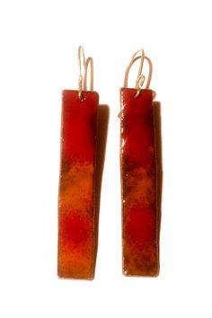 Handmade enamel red and orange 'fire' drop earrings