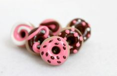 Pink & Brown Polymer Clay Pushpins by Emariecreations on Etsy