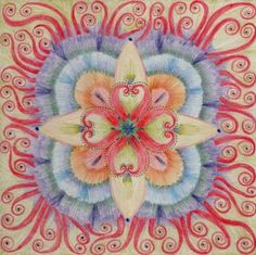 """During the week of September 12, 2011, I began to put together my website, my business cards and a few social media sites. I quickly realized I needed a photo or some kind of cool image. I sat at my computer thinking of what I could possibly use. I looked up and saw my mandala hanging on the wall. """"Hmmm,"""" I thought, """"That might work."""" It was my very own mandala.    More... http://karenkubicko.wordpress.com/2012/06/08/my-mandala/"""