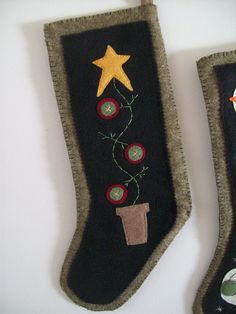 Primitive Christmas Stocking (Penny Tree) by LookHappyShop, via Flickr