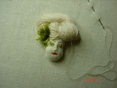 Stumpwork Embroidery doll face