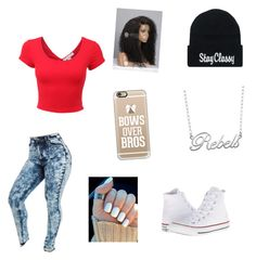 """Untitled #40"" by ghettogirl19 ❤ liked on Polyvore featuring LE3NO, Casetify, Fiora and Converse"