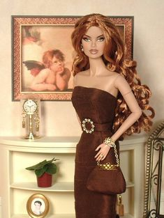 Cindy's Classic Creations - FR's Vanessa Perrin in chocolate evening wear Barbie I, Barbie World, Barbie Dress, Barbie Clothes, Fashion Royalty Dolls, Fashion Dolls, Poppy Parker, Living Dolls, Barbie Collection