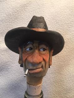 """""""Black Bart""""...cowboy bottle stopper carved by RWK Woodcarving"""