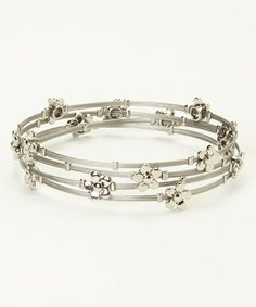 Loving this Silver Flower All Wired Up Bangle Set on #zulily! #zulilyfinds