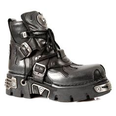 New Rock Boots Black Flames Ankle Boots M.288-S2 (Black)