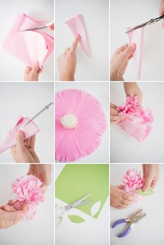 Tissue Paper Carnation Place Cards + Favors DIY Tissue Paper Wrapping, Tissue Paper Crafts, Diy Paper, Paper Poms, Tissue Flowers, Paper Flowers Diy, Fabric Flowers, Satin Flowers, Diy Crafts To Do