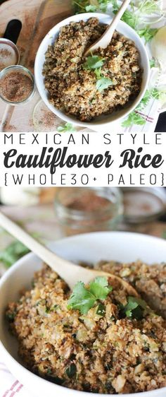 Mexican Cauliflower Rice Recipe {Paleo + Compliant} YES! I so needed some variety on the Whole 30 diet! This is really good and Paleo, compliant, dairy free, gluten free dinner idea! Rice Recipes, Mexican Food Recipes, Low Carb Recipes, Real Food Recipes, Cooking Recipes, Healthy Recipes, Recipies, Whole 30 Diet, Paleo Whole 30