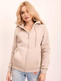 Dámska mikina béžová s kapucňou a zipsom Hooded Jacket, Athletic, Jackets, Fashion, Jacket With Hoodie, Down Jackets, Moda, Athlete, Fashion Styles