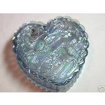 Fenton trinket box   Fenton Hummingbird Carnival Glass Heart Trinket Box