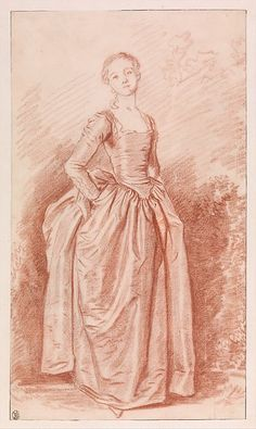 A Young Woman Standing with her Hands on her Hips (La Coquette), Jean Honoré Fragonard (French, Grasse Paris), Red chalk over black chalk underdrawing Paris Drawing, Madonna, Jean Honore Fragonard, Drawing For Beginners, Art Template, Woman Standing, Old Master, Portrait Art, Metropolitan Museum