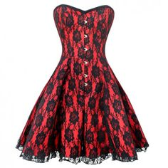 GC-1032 - Red Flared Corset Dress with Black Flower Lace Overlay - Burlesque Costumes
