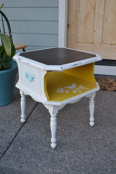 SOLD   Vintage Bird End Table Mustard Yellow