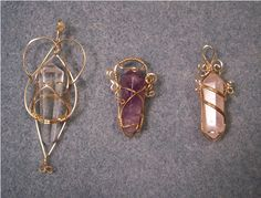 Clear quartz, rose quartz and amethyst in gold-filled, bright copper, and Argentium silver wire. Wire Pendant, Wire Wrapped Pendant, Wire Wrapped Jewelry, Pendant Jewelry, Crystal Pendant, Crystal Jewelry, Metal Jewelry, Beaded Jewelry, Handmade Jewelry