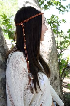 Feather Headband with Wood beads & Braided leather by Sachi215, $30.00