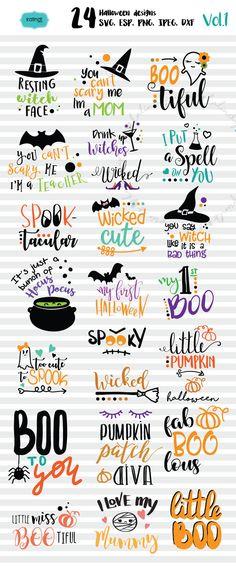 Halloween svg sale, Halloween bundle svg svg, svg files, pumpkin svg, svg cutting files, witch svg, silhouette svg   hf-vol1 by KalindiPrints on Etsy
