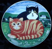 "DEPARTMENT 56 TEASER & TIGER CATS PLATE BY MARTIN LEMAN 9.25"""
