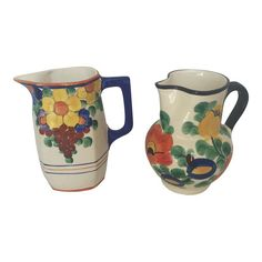 Vintage Deco Czech Flowered Pitchers - A Pair Aesthetic Objects, Different Types Of Flowers, Anne Of Green Gables, Vintage Pottery, Character Aesthetic, Traditional Art, Antiques, Mood Boards, Kitchen Dining