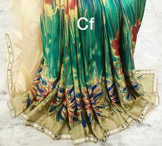Moss crape original mirror sarees