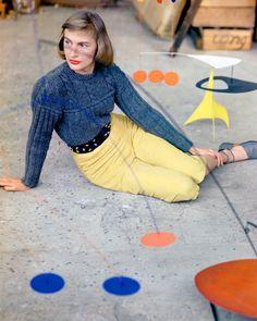 Model Posing with Mobile in Calder's Studio