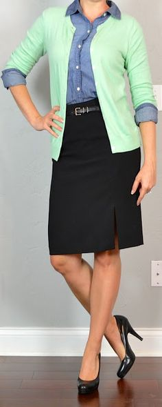 outfit post: chambray button down shirt, mint cardigan, black pencil skirt