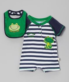 Look what I found on #zulily! Duck Duck Goose Green Stripe Frog Romper & Bib - Infant by Duck Duck Goose #zulilyfinds
