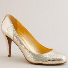 """J. Crew Harper Crackle-Metallic Heels - Sz 10 Made in Italy. Gold metallic crackle finish. 3.5"""" heel. J. Crew Shoes Heels"""