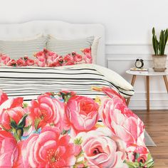 Allyson Johnson Bold Floral and stripes Duvet Cover | DENY Designs Home Accessories
