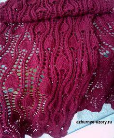 Ажурная шерстяная шаль спицами
