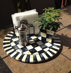 Hand Painted 15  Black and White Checked Lazy by paintingbymichele, $99.00