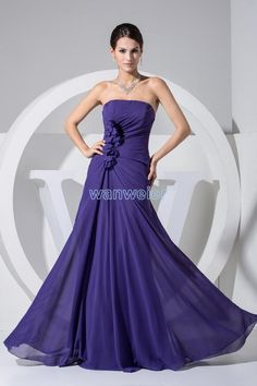 Wholesale Designer Occasion Dresses - Buy Wanweier 2015 New Sexy Party Evening Prom Dresses Strapless Shiffon Handmade Flower Pleats Piping Prom Gowns With Zipper, $89.01 | DHgate.com