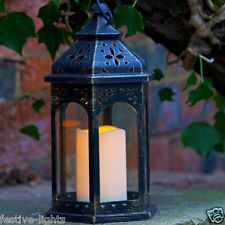 BATTERY POWERED OUTDOOR FLICKERING CANDLE MOROCCAN LANTERN LED DECORATIVE LIGHT