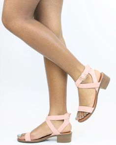 Available in Black & Blush - Low Heel - One Band Detail - Adjustable Ankle Strap - Non-Skid Outsole For Traction - Synthetic Upper - Heel Height: Inch Low Heel Sandals, Ankle Straps, Ankle Strap Sandals, Black High Heels, Black Sandals, Hipster Shoes, Cute Heels, Fashion Heels, Formal Shoes