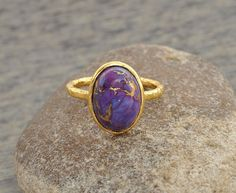 Copper Purple Turquoise Oval Micron Gold Plated 925 by BaniThani