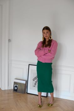 WEARING: pink belted cardigan and statement earrings - ROE DIARY